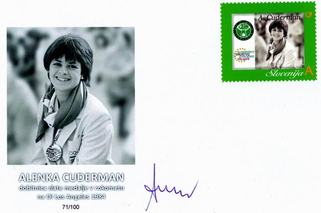 Osebna poštna znamka kot priznanje za Alenko Cuderman