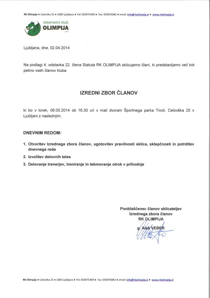 RK Olimpija - sklic izrednega zbora članov - 2014