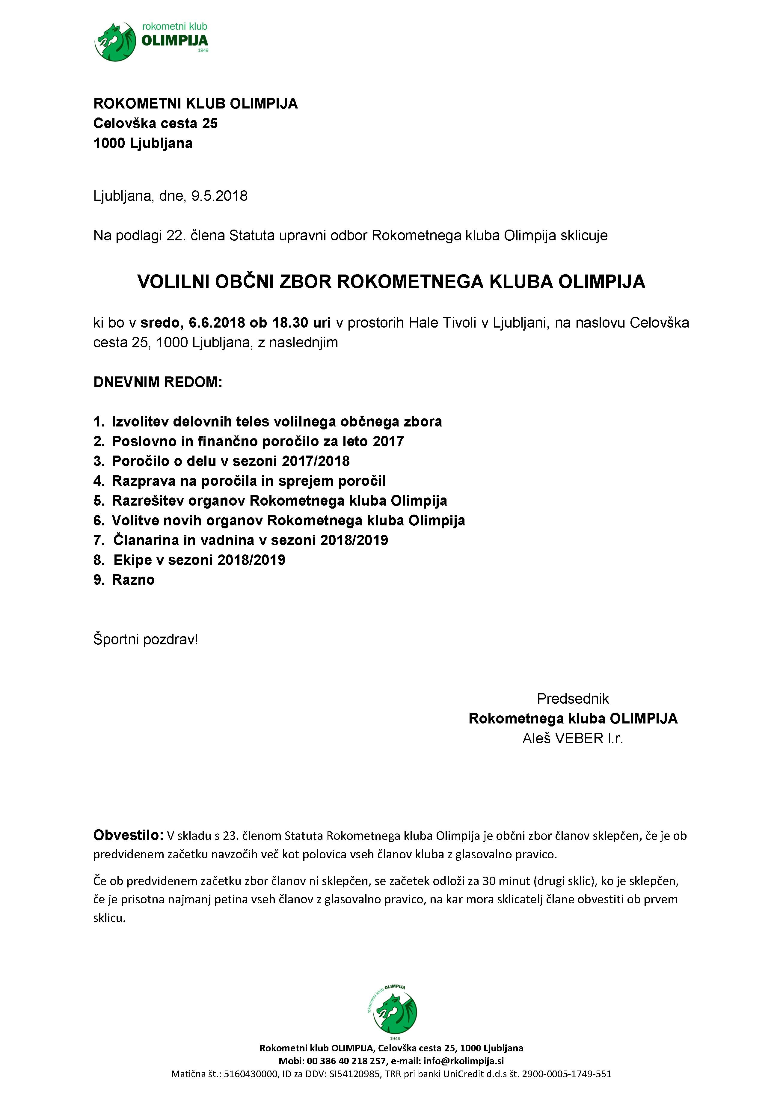 Obvestilo: Volilni občni zbor Rokometnega kluba Olimpija